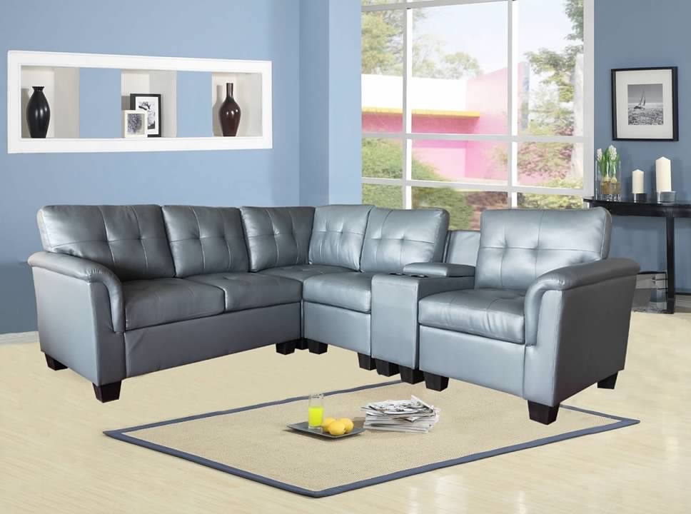 greatime s2304 gray vinyl sectional sofa walmart com