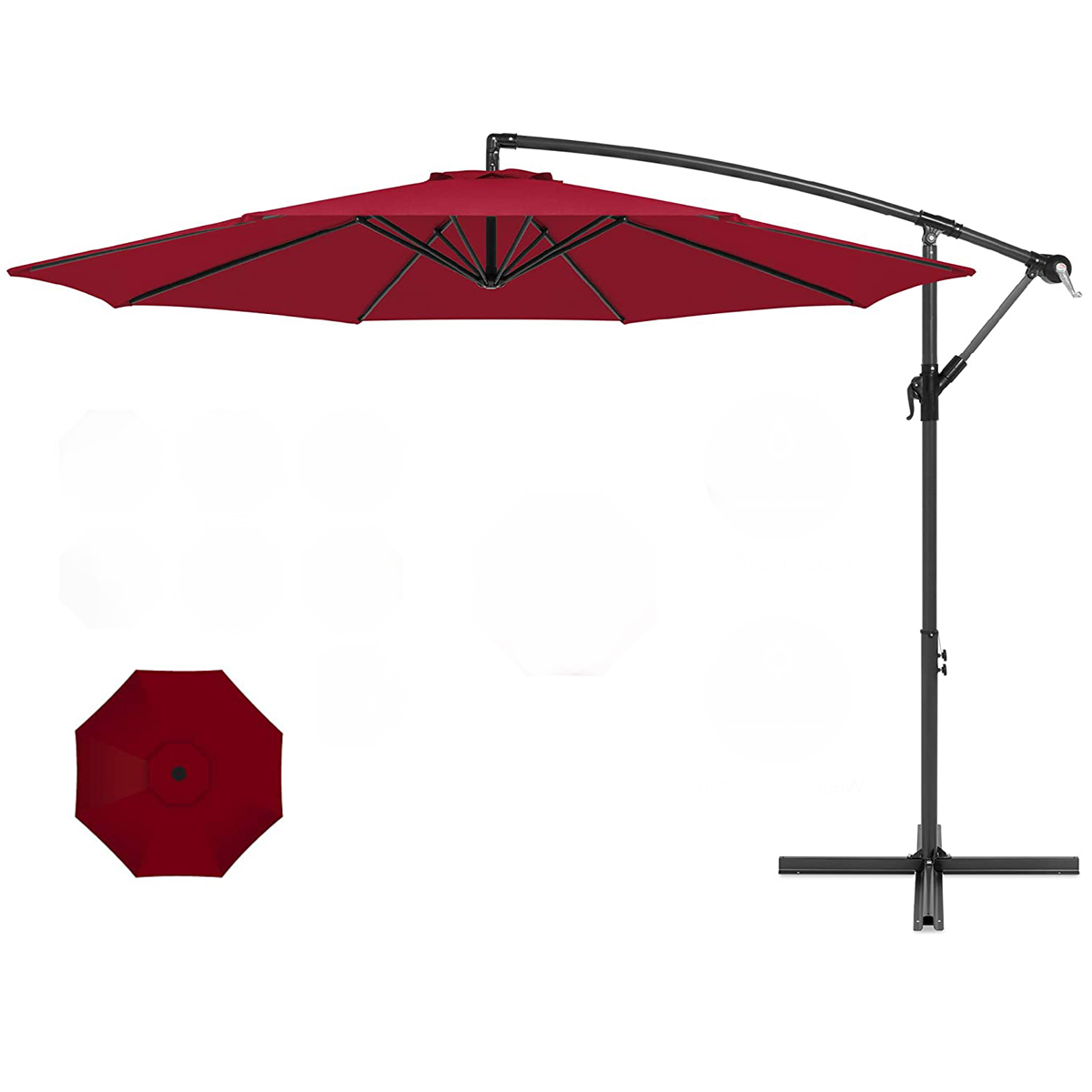 xtremepowerus 10 ft offset cantilever patio umbrella off set outdoor hand crank w base burgundy