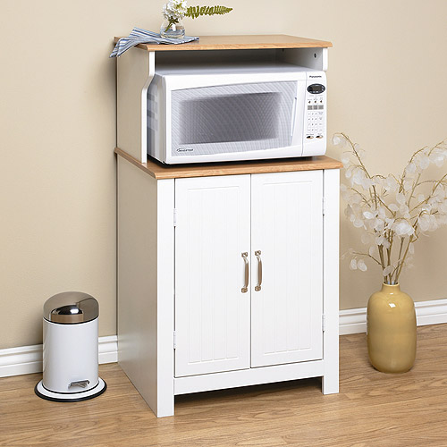 Shaker Style Microwave Cart White And Oak