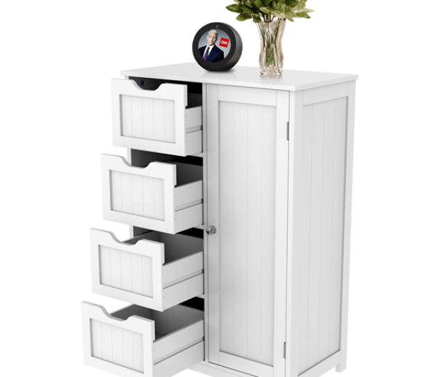 Wooden Bathroom Floor Cabinet Side Storage Organizer Cabinet With 4 Drawers And 1 Cupboard