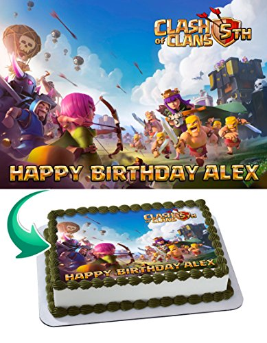 Clash Of Clans 3 Edible Cake Image Topper Personalized Birthday Party 1 4 Sheet 8 X10 5 Walmart Com Walmart Com