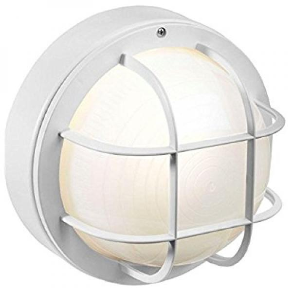 newport coastal 8 in outdoor white incandescent round nautical flush mount light with grille