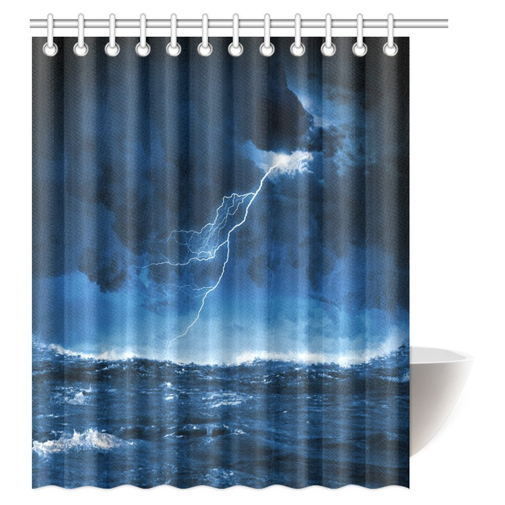 mypop nautical shower curtain night stormy sea with big waves and lightning fabric bathroom shower curtain set with hooks 60 x 72 inches