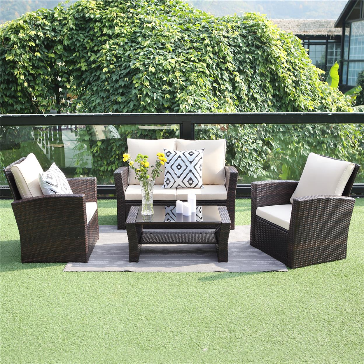 outdoor patio furniture set wisteria lane 4 piece garden rattan sofa wicker sectional sofa seat with coffee table brown