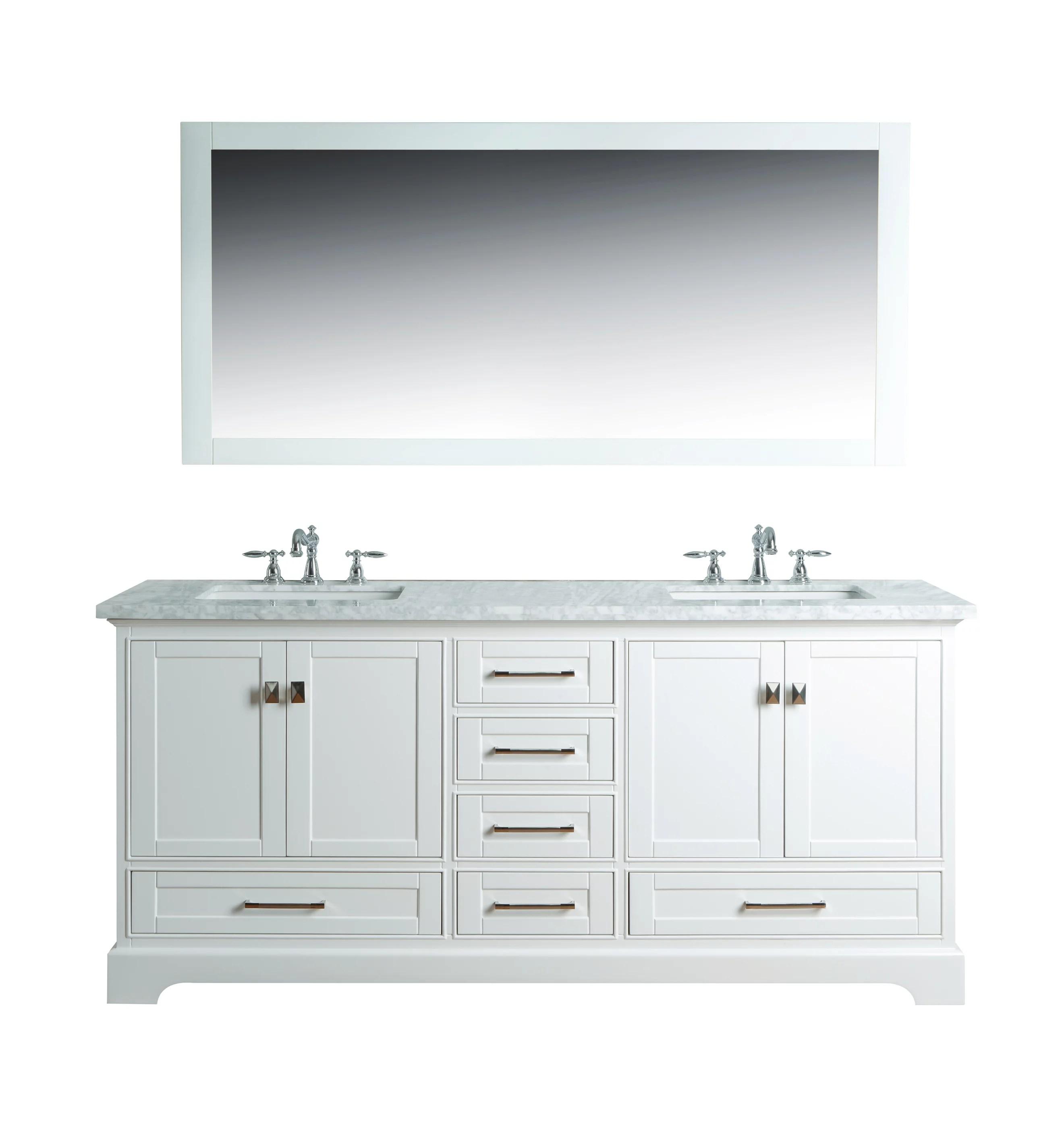 newport white 72 inch double sink bathroom vanity with mirror