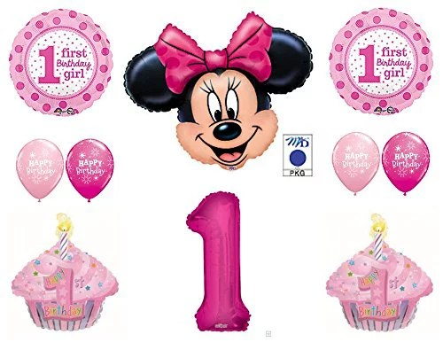 Minnie Mouse Cupcakes 1st First Birthday Party Balloons Decorations Supplies Walmart Com Walmart Com