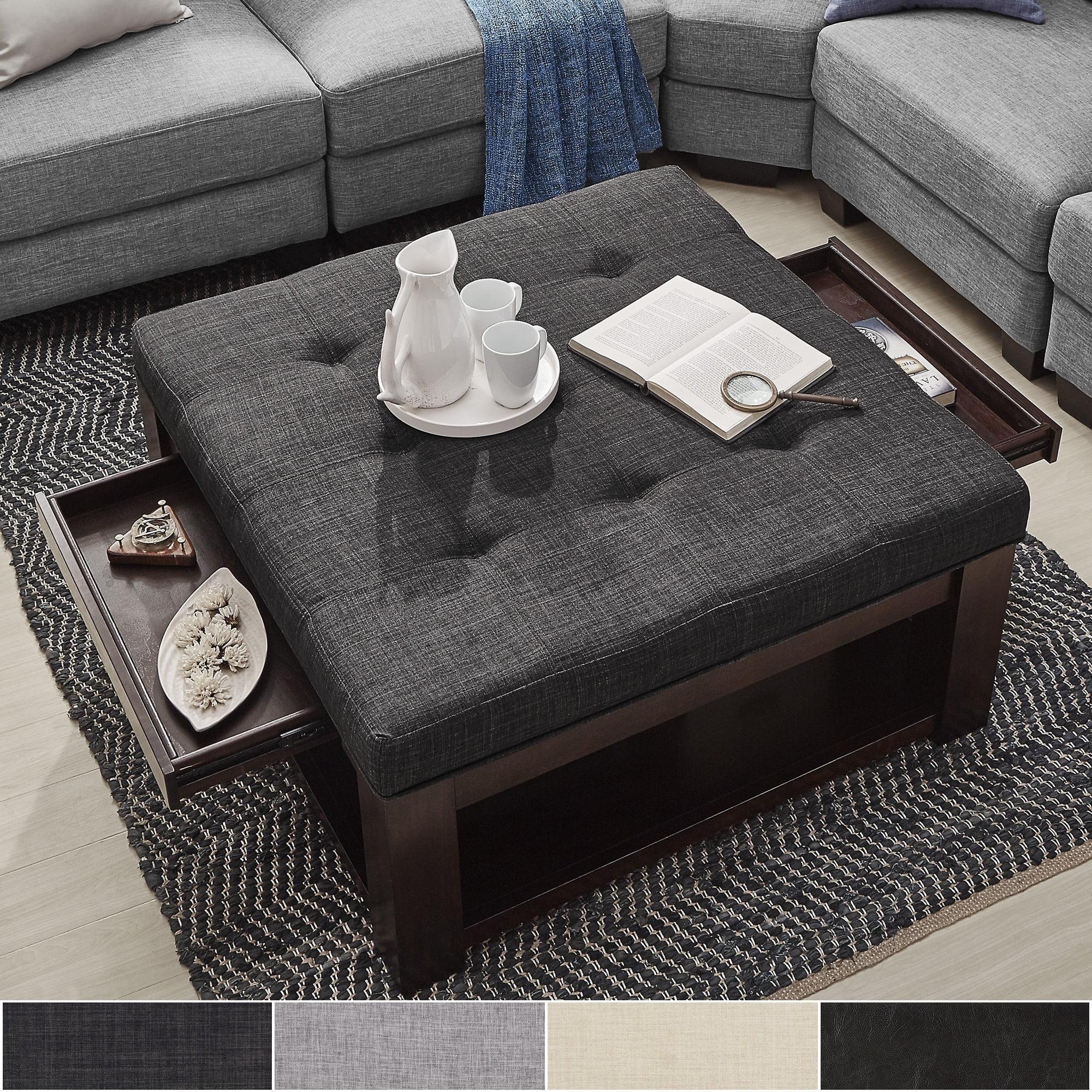 Inspire Q Lennon Espresso Square Storage Ottoman Coffee Table By Classic Walmart Com Walmart Com