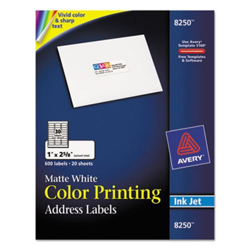 avery 8250 white color printing address label 1 x 2 5 8 600 labels