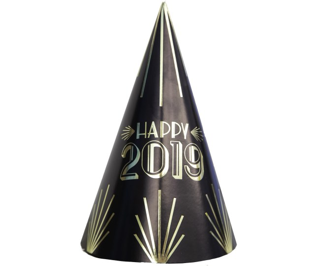 Foil Art Deco New Years Party Hats Black Gold