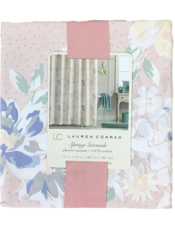 lauren conrad spring serenade cotton shower curtain floral bath decor
