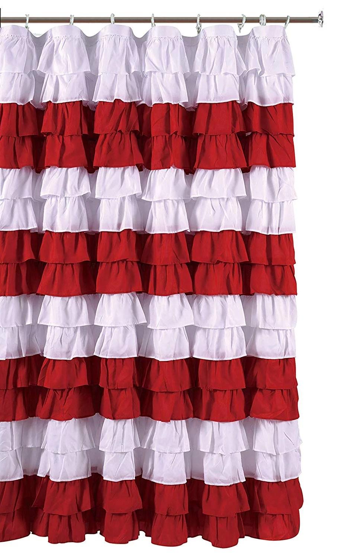 waterfall ruffled nautical stripe fabric shower curtain white red