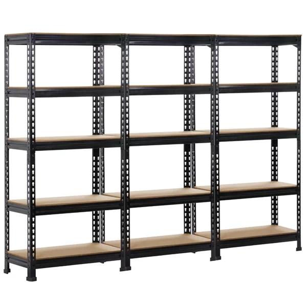 smilemart 5 tier adjustable metal garage storage rack 27 6 l x 12 0 w x 59 1 h set of 3