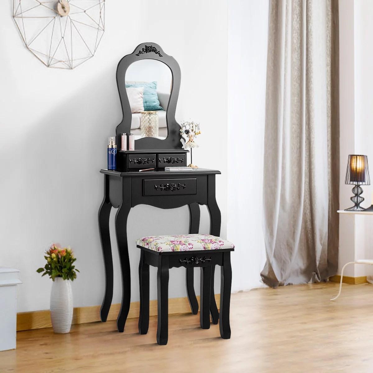 costway vanity jewelry makeup dressing table set bathroom w stool drawer mirror wood desk white black