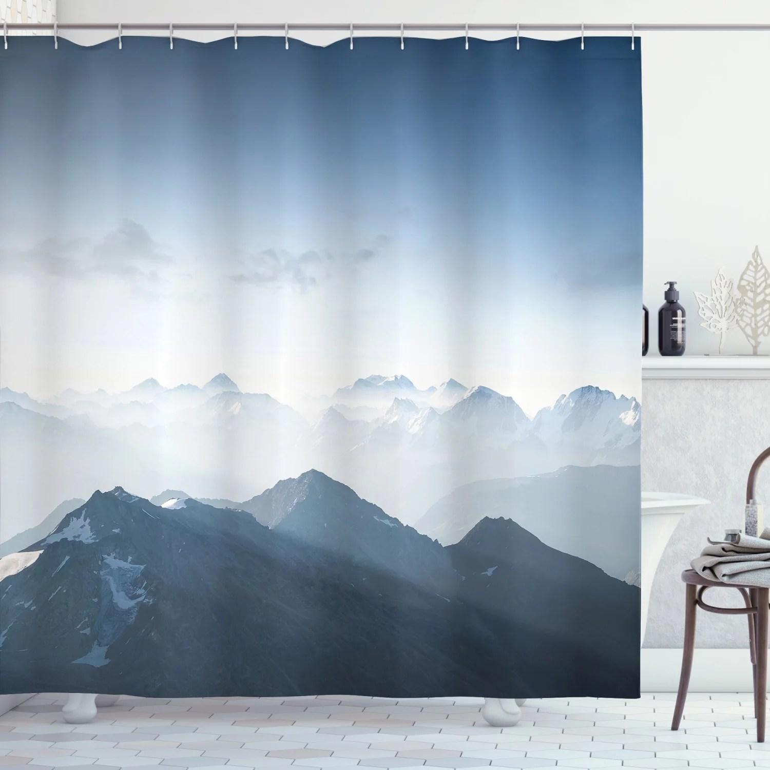 mountain shower curtain foggy scenic morning in rock mountain region in northern hiking climbing ice photo fabric bathroom set with hooks pale