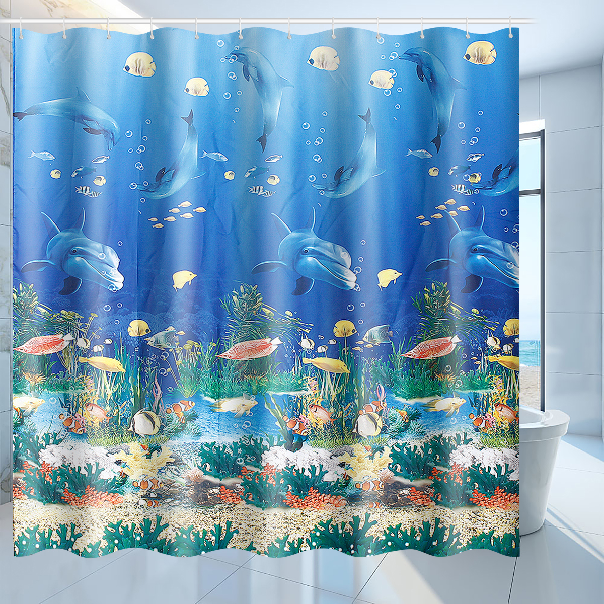 71 x71 dolphin shower curtain w 12 hooks waterproof polyester ocean themed bathroom decoration underwater fish coral reef and tropical fish shower