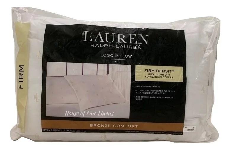 lauren ralph lauren logo firm density standard queen pillow down alternative