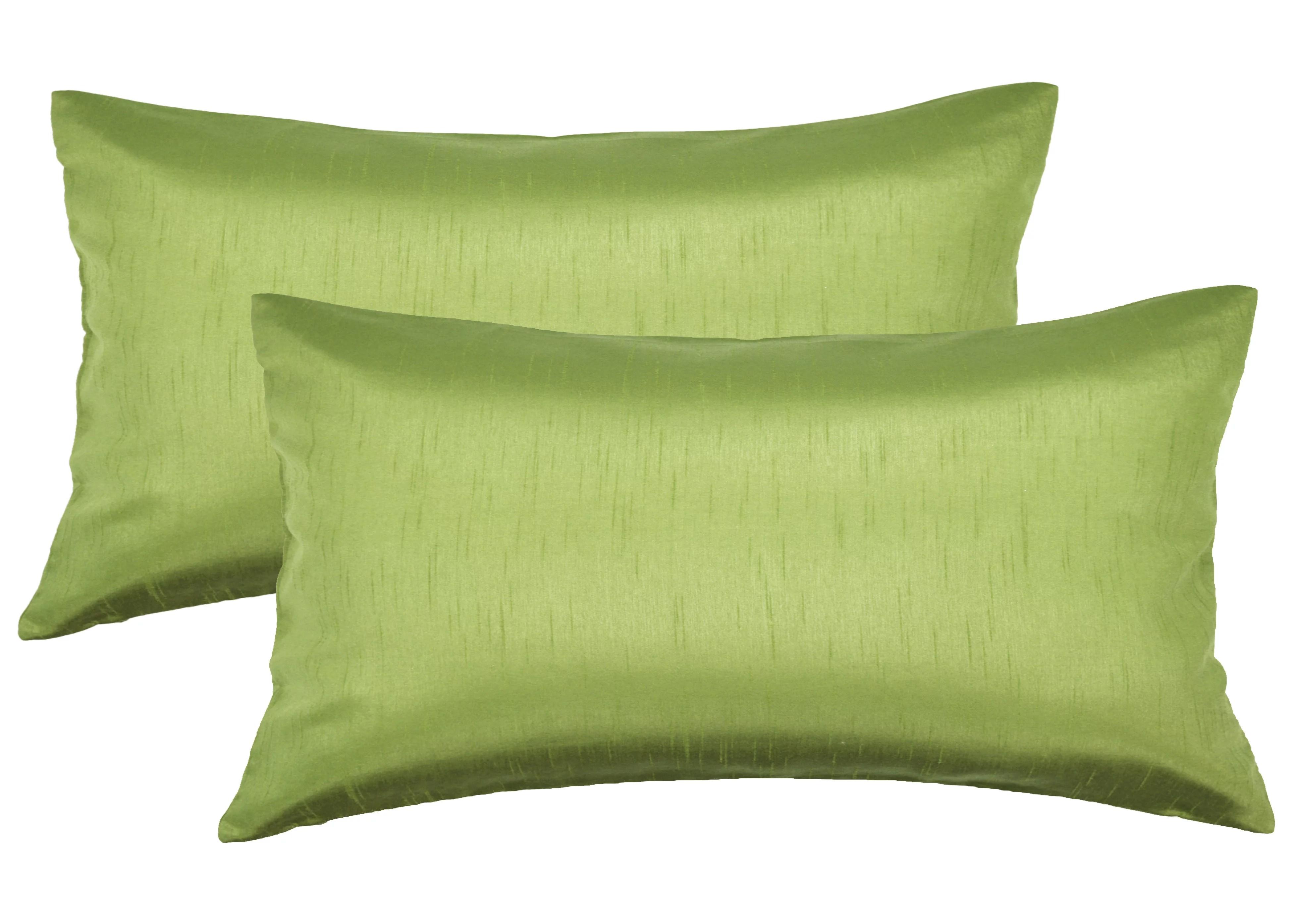aiking home 12x24 inches faux silk rectangular throw pillow cover zipper closure green set of 2 walmart com
