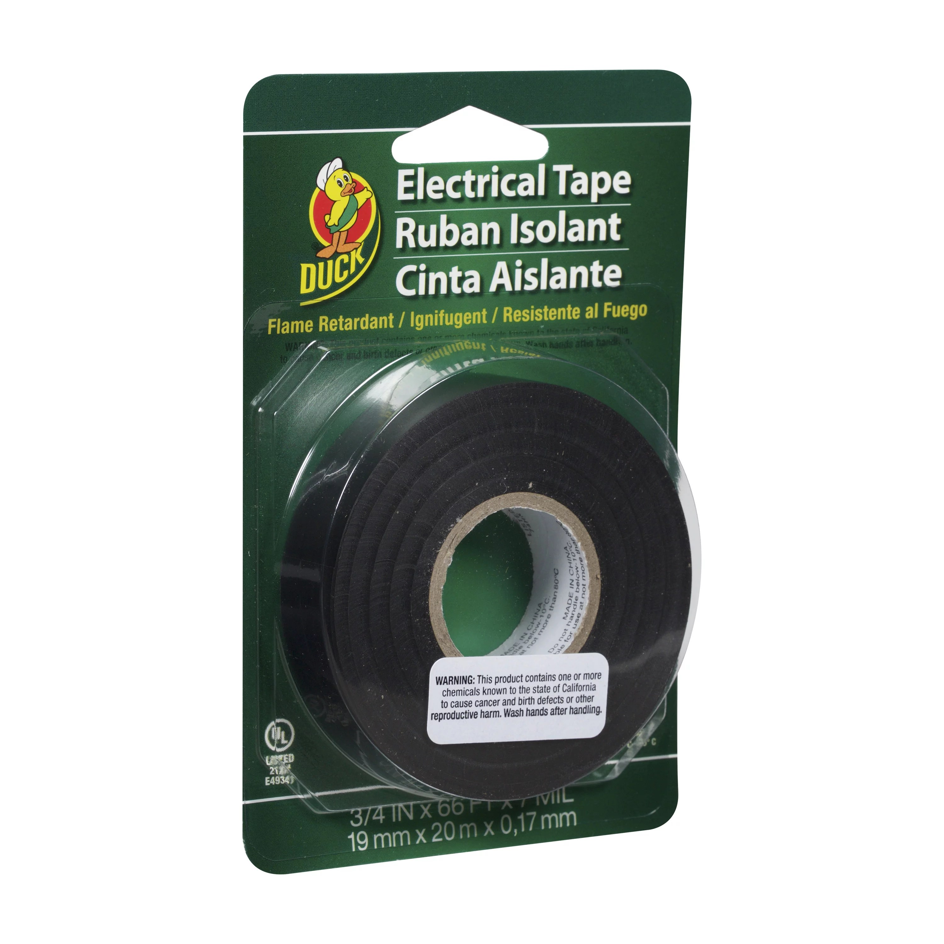 duck professional rubber electrical tape 0 75 in x 66 ft black walmart com
