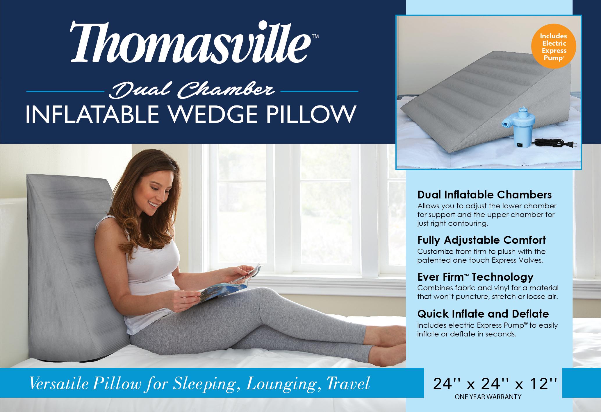 thomasville inflatable air wedge pillow gray
