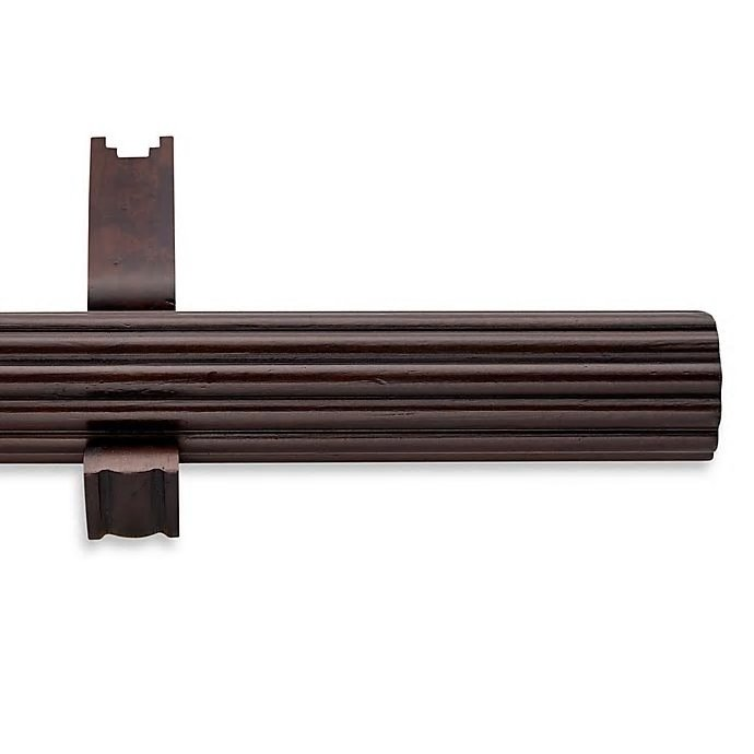 cambria estate wood 126 inch single fluted curtain rod in chocolate walmart com