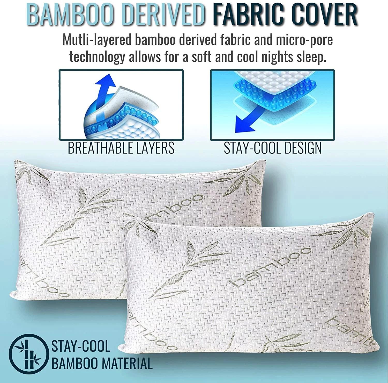 sleepsia bamboo pillow standard size premium memory foam pillow with washable pillow case standard