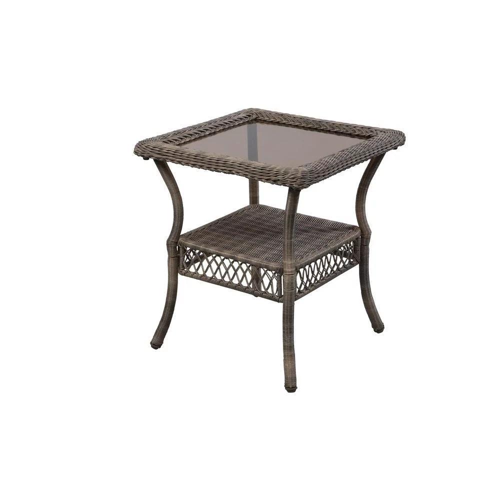 hampton bay 65 20307 spring haven grey wicker outdoor patio side table walmart com