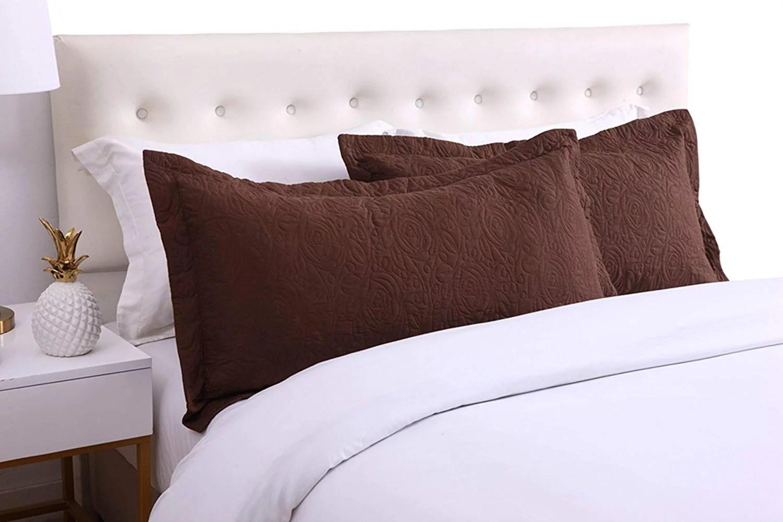 marcielo 2 piece embroidered pillow shams decorative microfiber pillow shams set standard size brown
