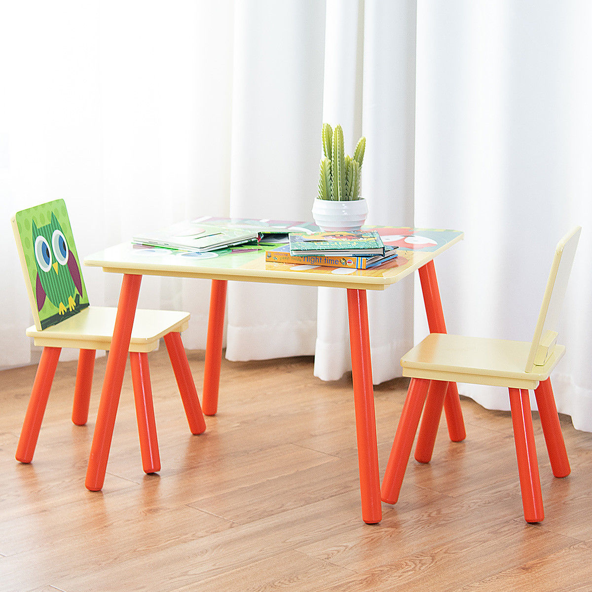 Gymax Kids Table And 2 Chairs Set For Toddler Baby T