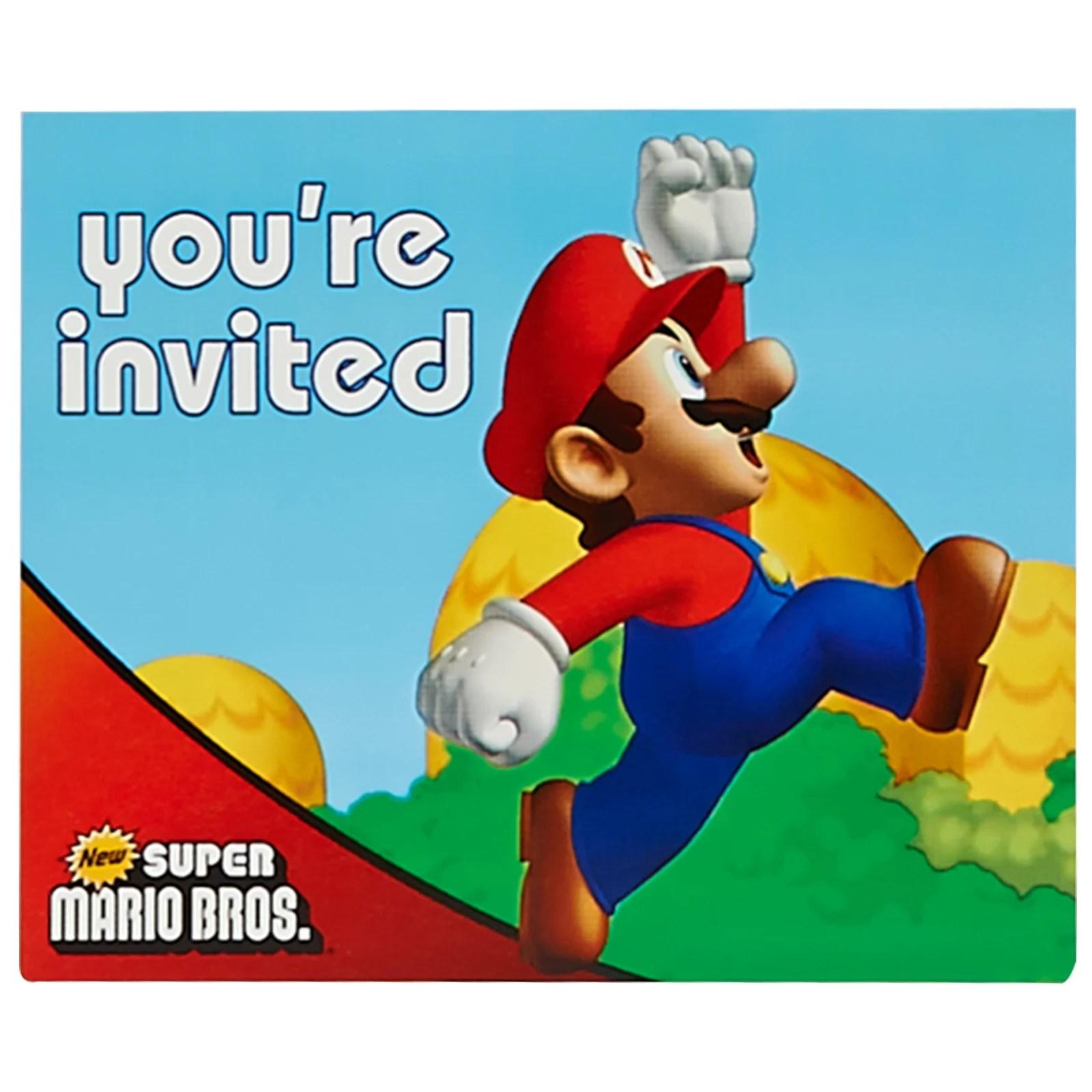 super mario brothers birthday party supplies 16 pack invitations walmart com