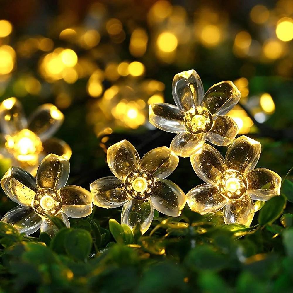 qedertek garden solar string lights 22 96ft 50 led solar fairy blossom flower for indoor outdoor patio lawn garden christmas and holiday festivals