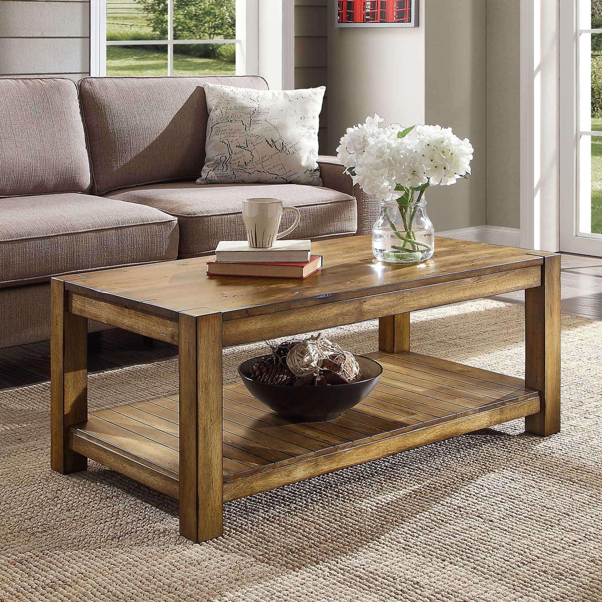 Better Homes Gardens Bryant Solid Wood Coffee Table Rustic Maple Brown Finish Walmart Com Walmart Com
