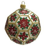 Poinsettia White And Gold Polyhedron Ball Polish Glass Christmas Tree Ornament Walmart Com Walmart Com