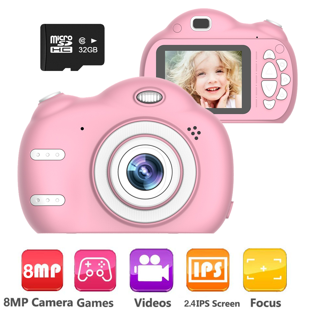 Kids Camera, 1080P Kids Selfie Camera with 8MP Dual Cameras Children Digital Camera Kids Toys for 3-12 Age Girls Boys Birthday Christmas Kids Gifts Toddler Camera with 2.4 IPS, 32GB SD Card , Q15253