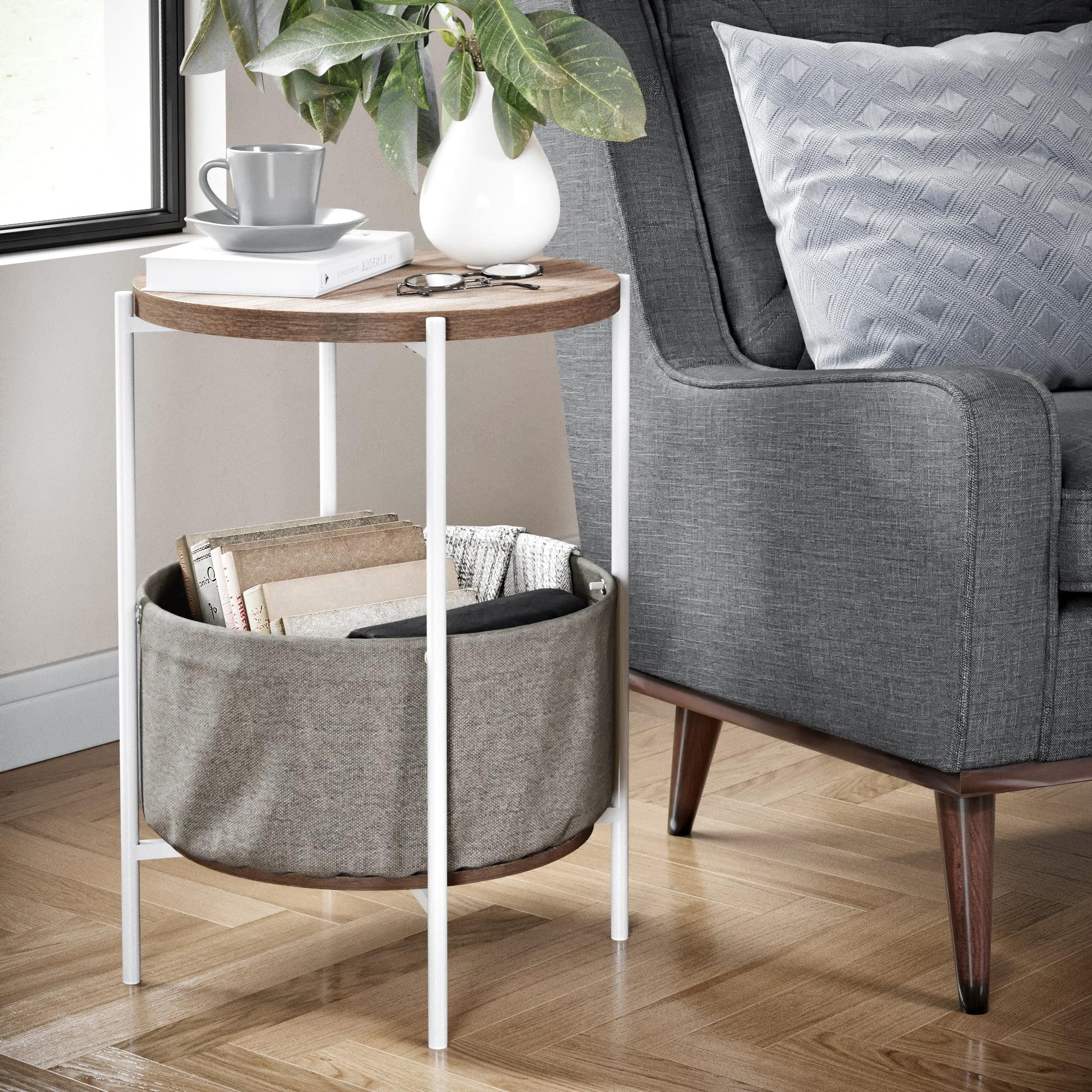 Nathan James Oraa Wood Side Table With Beige Fabric Storage Light Brown Top White Metal Base Walmart Com Walmart Com
