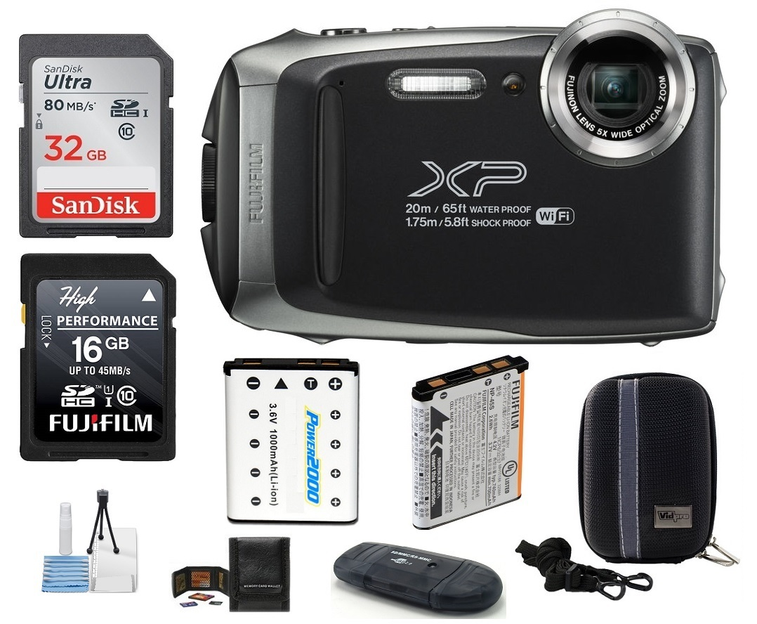 FUJIFILM FinePix XP130 Water, Shock, Freeze and Dustproof Digital Camera (Dark Silver) Bundle; Includes: 32GB & 16GB SDHC Memory Cards + Spare Battery + Camera Case + Card Reader + More