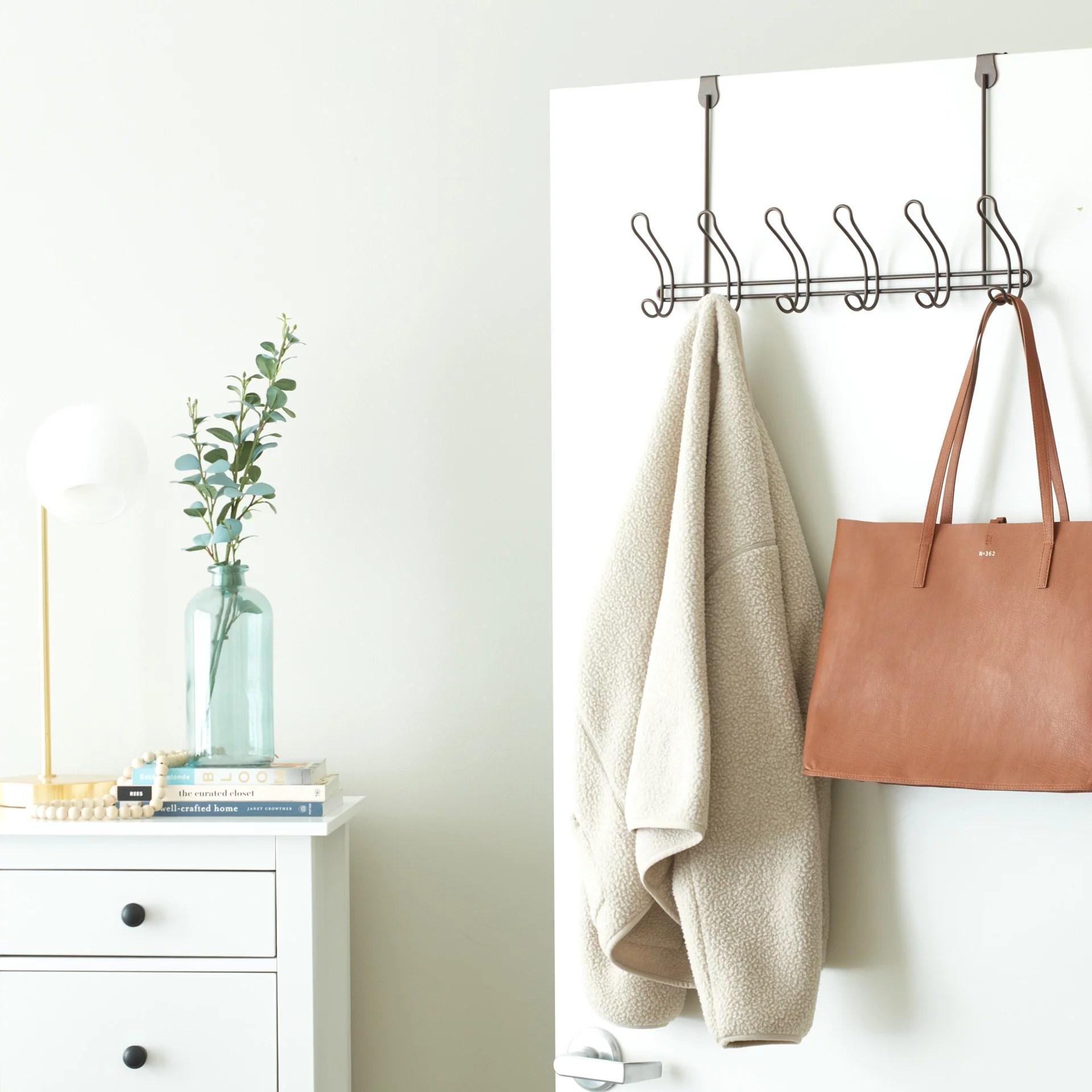 mainstays classico over the door coat rack with 6 hooks bronze metal walmart com walmart com