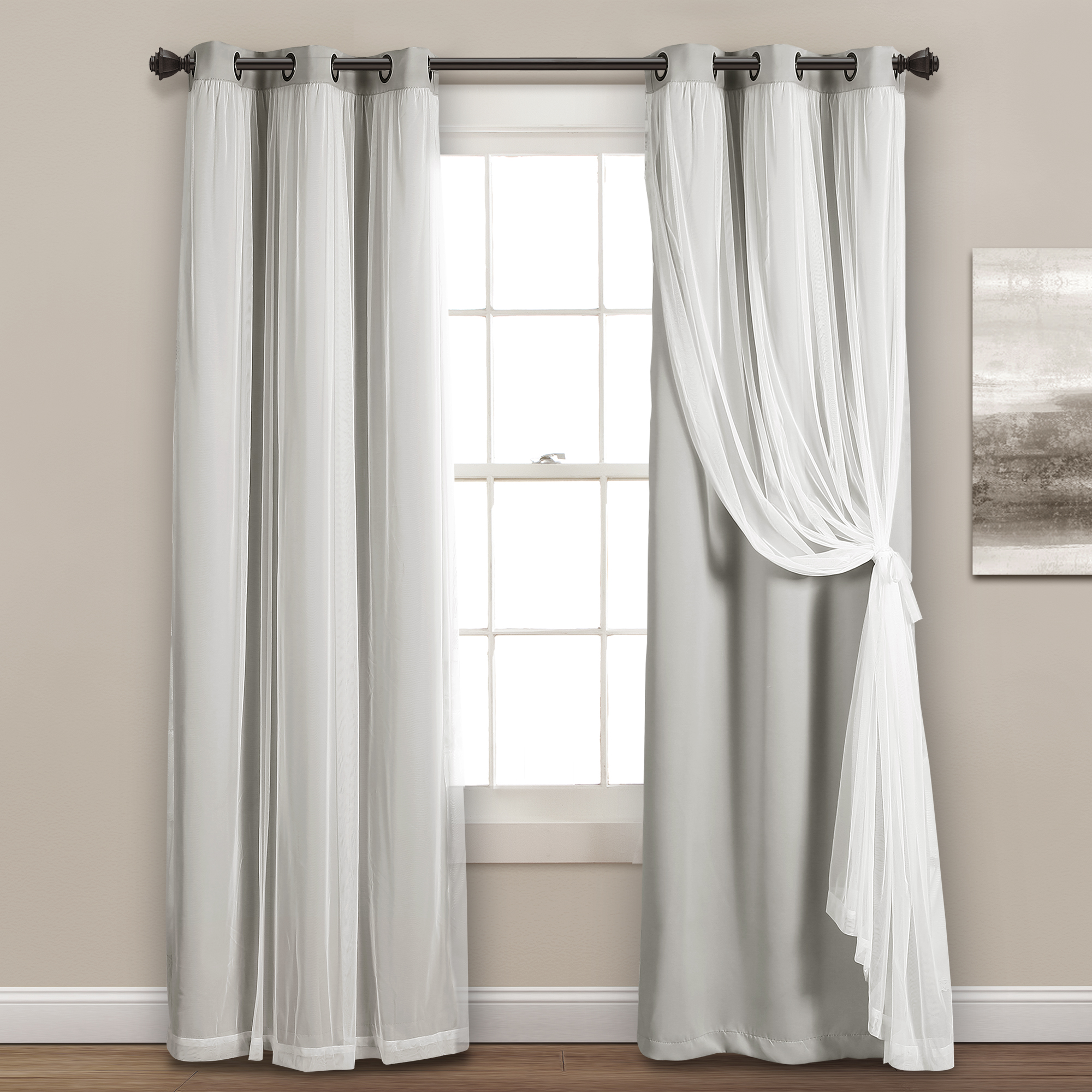 lush decor grommet sheer window curtain panels with insulated blackout lining solid color 100 polyester light gray 84 l x 38 w set of 2
