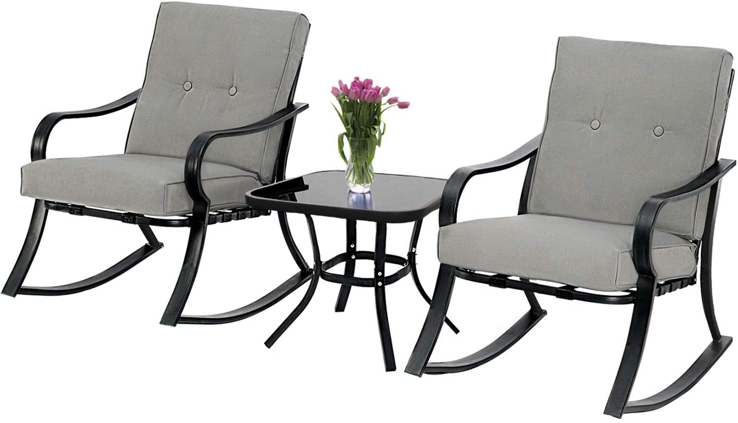 suncrown outdoor 3 piece rocking chairs bistro set black metal patio furniture with grey thickened cushion and glass top coffee table