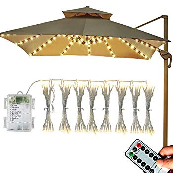 patio umbrella string lights battery operated 8 x 13 led umbrella lights with remote warm white 104 led waterproof outdoor lights for beach umbrella