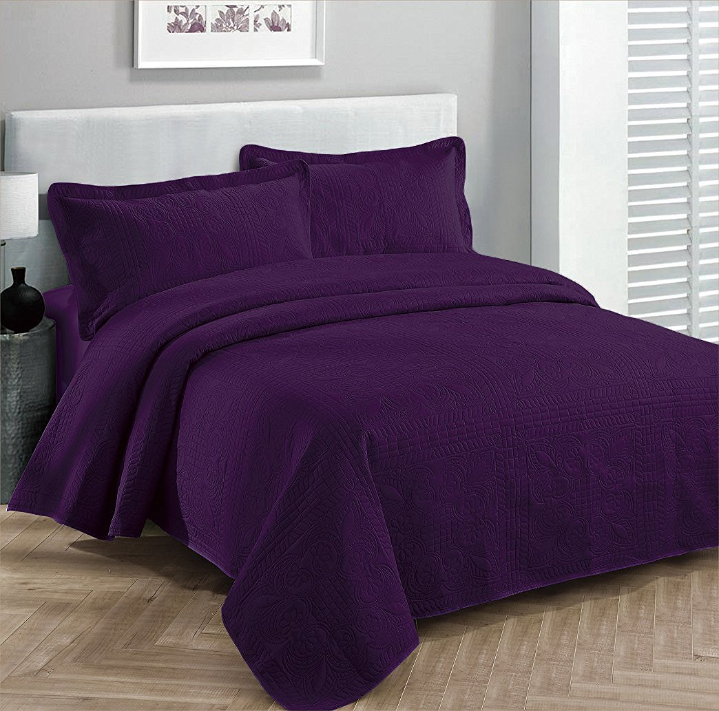 Fancy Collection 3pc Bed Spread Embossed Bedsocover Solid