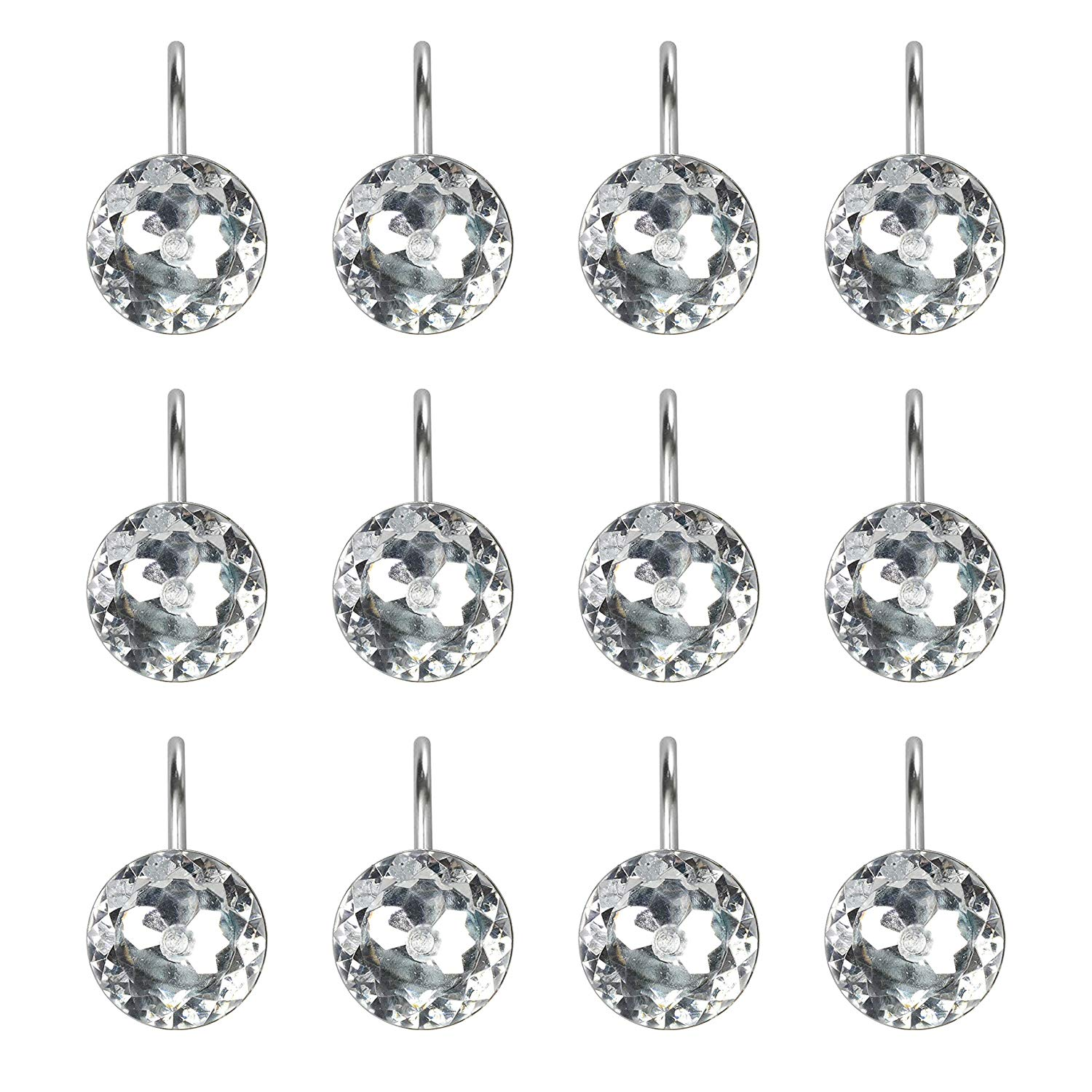 walfront 12pack shower curtain hooks and rings shower rhinestone rolling curtain crystal hooks clear decorative crystal diamond shape shower rings