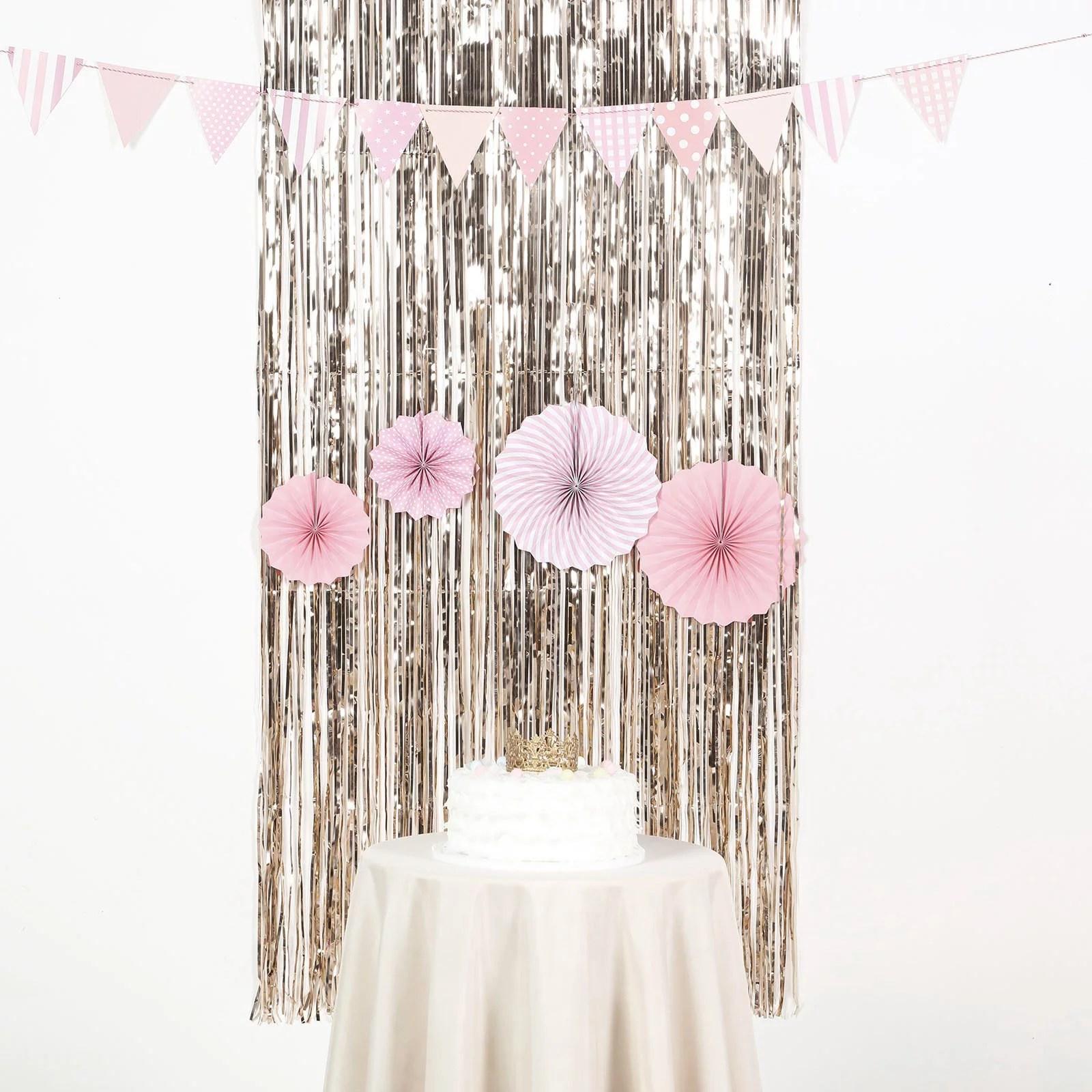 efavormart sparkling metallic foil fringe curtain for wedding birthday party dance banquet event decoration 3ft x 8ft walmart com