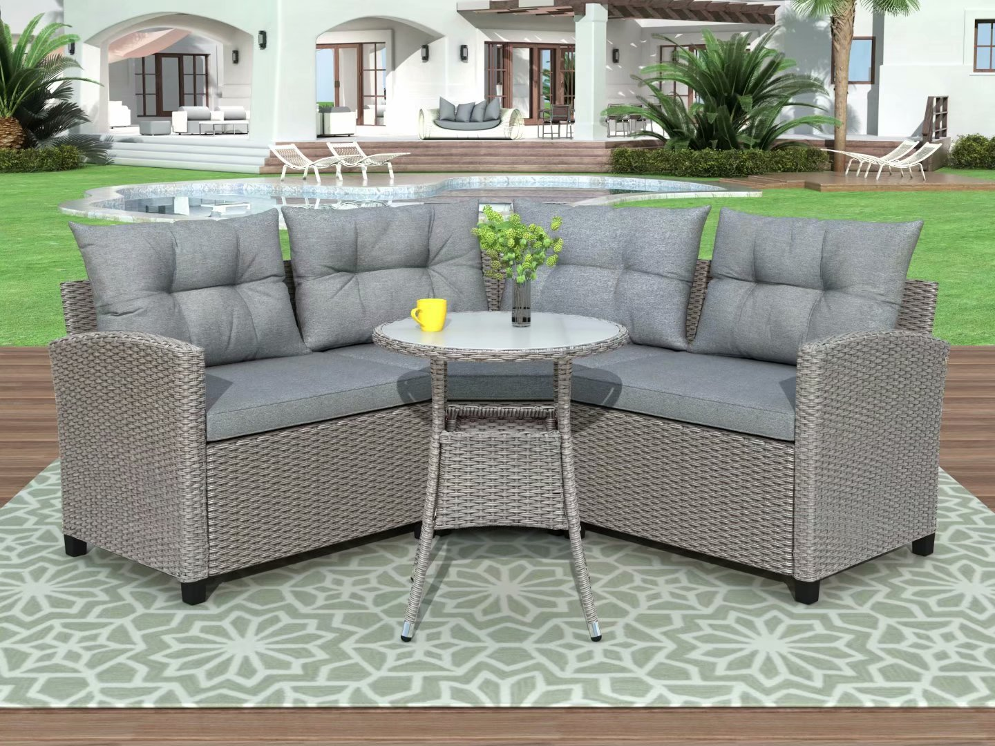 u style 4 piece resin wicker patio furniture set with round table gray cushions