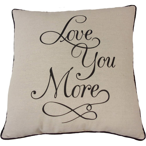 mainstays love you more decorative throw pillow 18 x 18