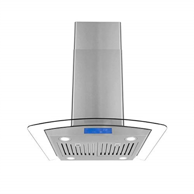 cosmo cos 668ics750 30 in island range hood 900 cfm ceiling mount chimney style over stove vent with light permanent filter 3 speed exhaust fan
