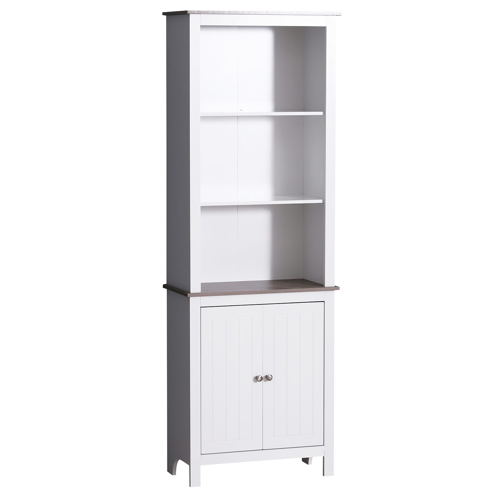 Homcom 69 Wood Free Standing Bathroom Linen Tower Storage Cabinet White Walmart Com Walmart Com