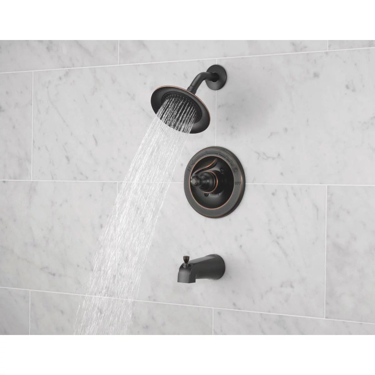 delta oil rubbed bronze single handle lever tub shower faucet 144996c ob