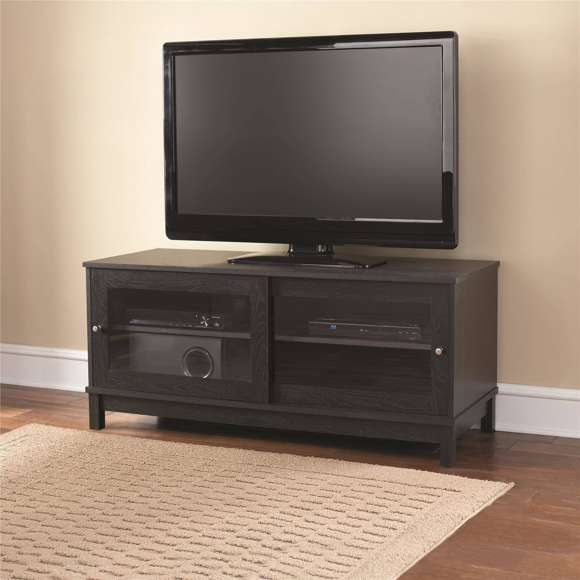 mainstays 55 tv stand with sliding glass doors multiple colors walmart com