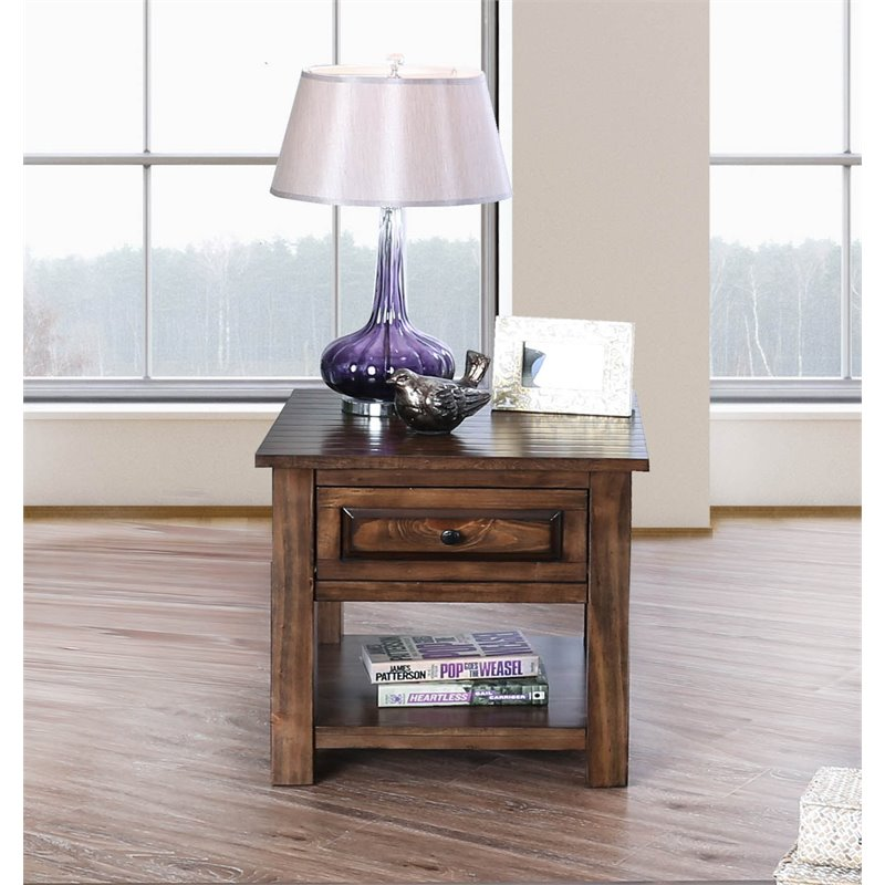 furniture of america nyah rustic wood square end table in walnut