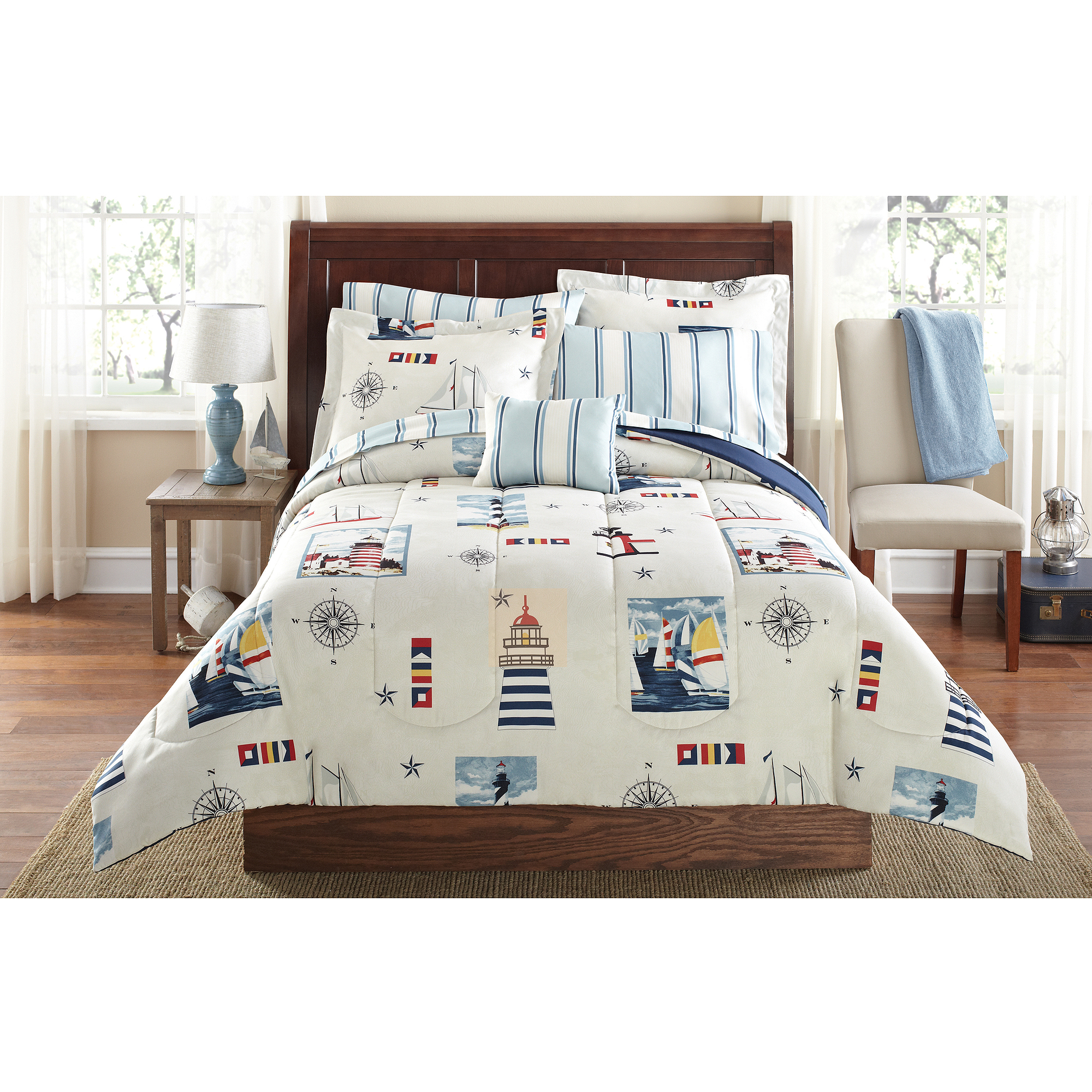 mainstays lighthouse bed in a bag coordinated bedding twin twin xl walmart com